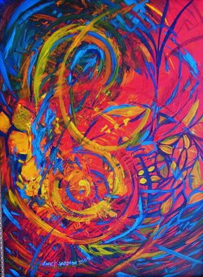 Jeanette Jarmon: 'MUSIC', 2011 Acrylic Painting, Music.  music, color, red, blue  ...