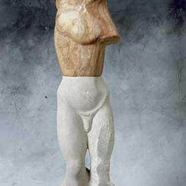 Jane Jaskevich: 'Kouros Revisited', 2003 Stone Sculpture, Figurative. Artist Description: This sculpture borrows from the Archaic Greek idea of the perfect male figure the kouros. I have added modern elements in the combining of different stones, the unfinished sides and the exposed edges. The sculpture is made of a limestone head, alabaster torso and limestone lower body and ...
