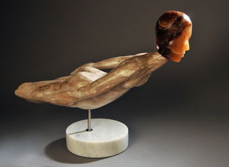Stone Sculpture by Jane Jaskevich titled: alabaster swimmer, 2014