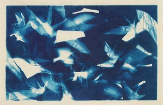 Jason Stern: 'Part of the Flock', 2015 Other Photography, Abstract. Artist Description:  Abstract cyanotype containing subtle origami crane forms. The shapes were produced though a combination of photograms and digital manipulation. ...