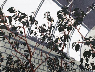 Jason Stern: 'Waiting for the Elevator', 2016 Woodcut, Trees. Artist Description:  This is a multi- layer reduction wood block print with an indoor tree as the subject mater. ...