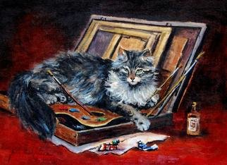 Jacinta Crowley_long: 'Fifty Shades of Grey', 2012 Oil Painting, Cats.  Cats, Grey Cat, Fifty Shades of Grey, Artists Palette  ...