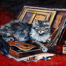 Jacinta Crowley_long: 'Fifty Shades of Grey', 2012 Oil Painting, Cats. Artist Description:  Cats, Grey Cat, Fifty Shades of Grey, Artists Palette  ...