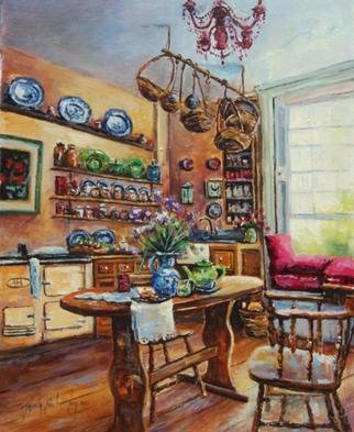 Jacinta Crowley_long: 'Period Living', 2012 Oil Painting, Interior. Artist Description:   Kitchen, Period Living, Period Kitchen, Georgian Kitchen, Table, Window, tea, tea time     ...