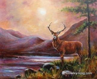 Jacinta Crowley_long: 'Stag Night', 2012 Oil Painting, Animals.   Stag, Deer, Ireland, evening , Mountains  ...