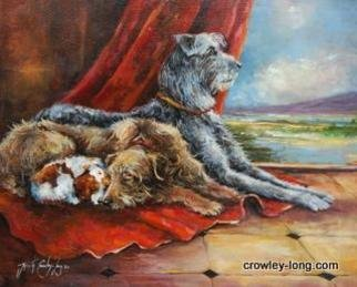 Jacinta Crowley_long: 'The Babysitters', 2012 Oil Painting, Dogs.  Irish Wolfhound, Scottish Deerhound, King Charles Spaniel ...