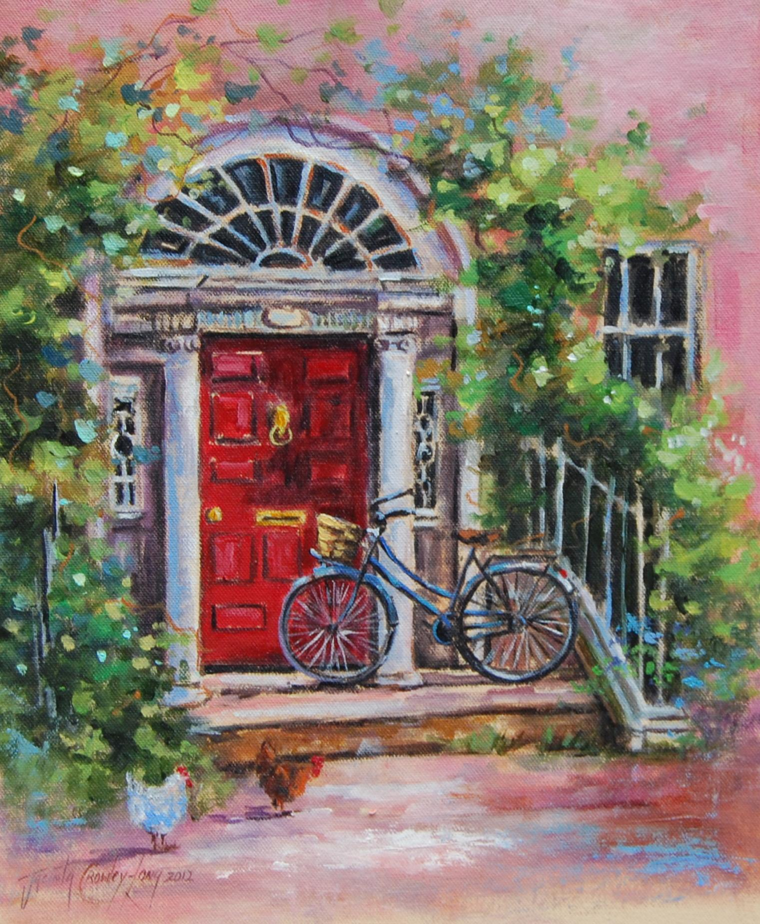 Jacinta crowley long 39 visiting aunt hyacinth 39 painting for Bicycle painting near me
