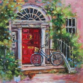 Jacinta Crowley_long: 'Visiting Aunt Hyacinth', 2012 Oil Painting, Home. Artist Description:  Red Doorway, Georgian Door, Bicycle, Visiting, Wisteria, steps    ...