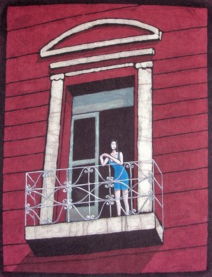 Javier Ca�ete: 'In the Balcony', 2005 Other Painting, Figurative.  A beautiful woman in an old balcony awaiting her love. Made in batik and acrylic. ...
