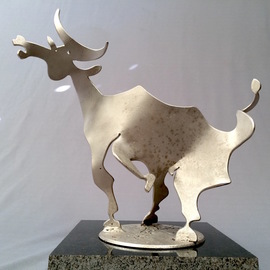 Francisco Javier Astorga Ruiz Del Hoyo.: 'torito', 2018 Steel Sculpture, Nature. Artist Description: Interpretation of the movement and shape of the bull. ...