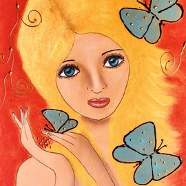 Butterflies in her hair Original By Javorkova Marie