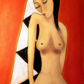 Javorkova Marie: 'She is one', 2005 Oil Painting, Nudes.