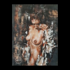 James Nisbet: 'original nude painting framed', 2019 Acrylic Painting, Nudes. Artist Description: I painted this girl a while back because her energy always spoke to me. This pose was perfect  It is nicely framed in black wood and ready to hang on the wall...