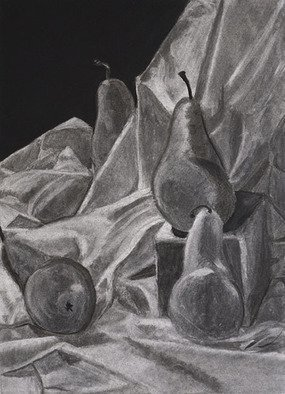 Jamie Boyatsis Artwork Pear Still Life, 2013 Charcoal Drawing, Food
