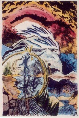 Jay Braden: 'Release II', 2006 Mixed Media, Visionary. Lithography- number 2 from a series of 7- each of the seven is uniquely painted in watercolor, creating seven distinct works:' Release I' -' Release VII'...