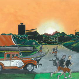 Jay Braden: 'burnt orange sunrise', 2010 Other Painting, Cityscape. Artist Description: Depiction of UT athletes training at dawn near the UT- Austin campus...
