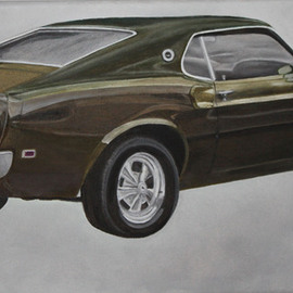 John Chicoine: '69 and 09', 2013 Oil Painting, Automotive.