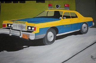 John Chicoine Artwork NY State Trooper, 1976 Oil Painting, Automotive