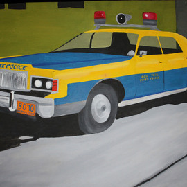 John Chicoine: 'NY State Trooper', 1976 Oil Painting, Automotive.