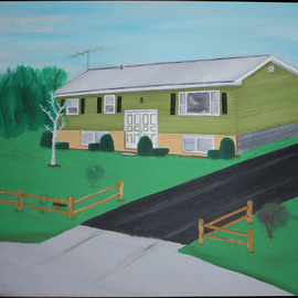 John Chicoine: 'Niverville Home', 1976 Oil Painting, Home.