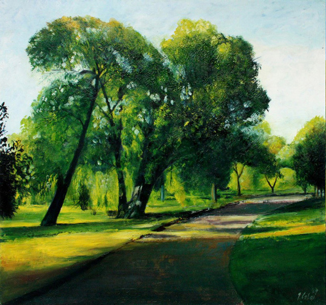 Artist Joseph Coban. 'Arboretum Path' Artwork Image, Created in 2009, Original Painting Oil. #art #artist