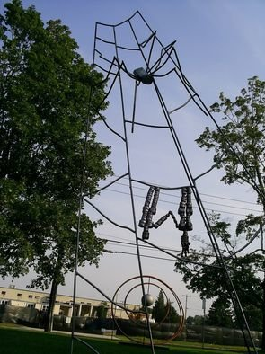J.o. Cruz: 'hanging by a thread', 2008 Steel Sculpture, Figurative. Artist Description:  two people hanging from a spiders web ...