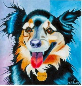 Joanne Deshong: 'freddie', 2004 Oil Painting, Dogs. Freddie is a happy mixed- breed dog- - his owner says some Shepard is in the mix. ...