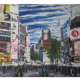 Jonathan Pratt: 'shibuya crossing', 2011 Oil Painting, Scenic. Artist Description:   city life in tokyo japan ...