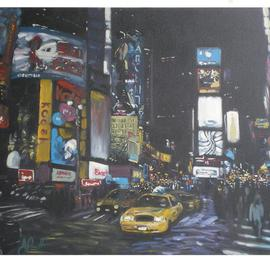Jonathan Pratt: 'times square', 2011 Oil Painting, Scenic. Artist Description:  city life in new york city ...