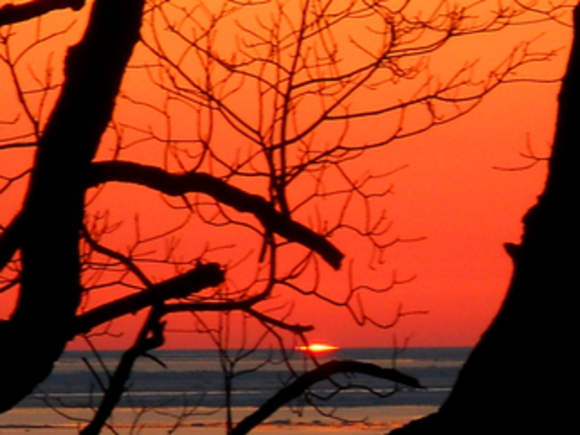 Jeanette Locher  'Winter Sunset Saugatuck MI', created in 2013, Original Photography Color.