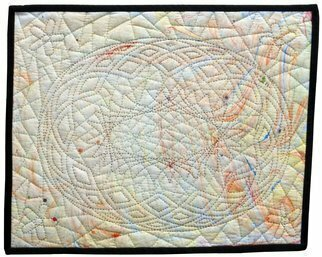 Jean Judd: 'Aged Psychedelic No 5', 2020 Mixed Media, Abstract. The Aged Psychedelic series is the beginning of my exploration of transferring the marbling process to textiles.  This series of ten pieces uses airbrush paint as the dye to create the marbled surface design.  I have found that the airbrush paint changes the hand of the textile ground and makes ...