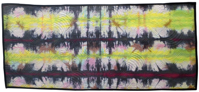 Jean Judd  'Sound Waves 4 Red Line', created in 2018, Original Textile.