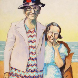 Jean Meyer: 'Moment', 2010 Acrylic Painting, Figurative. Artist Description:   Grandmother and granddaughter on beach  ...