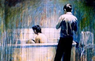 Artist: Jeannine Max - Title: taking a bath 1 - Medium: Acrylic Painting - Year: 2007