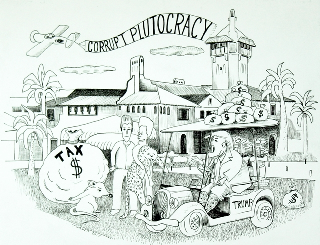 Jeff Turner  'Corrupt Plutocracy', created in 2017, Original Drawing Pen.