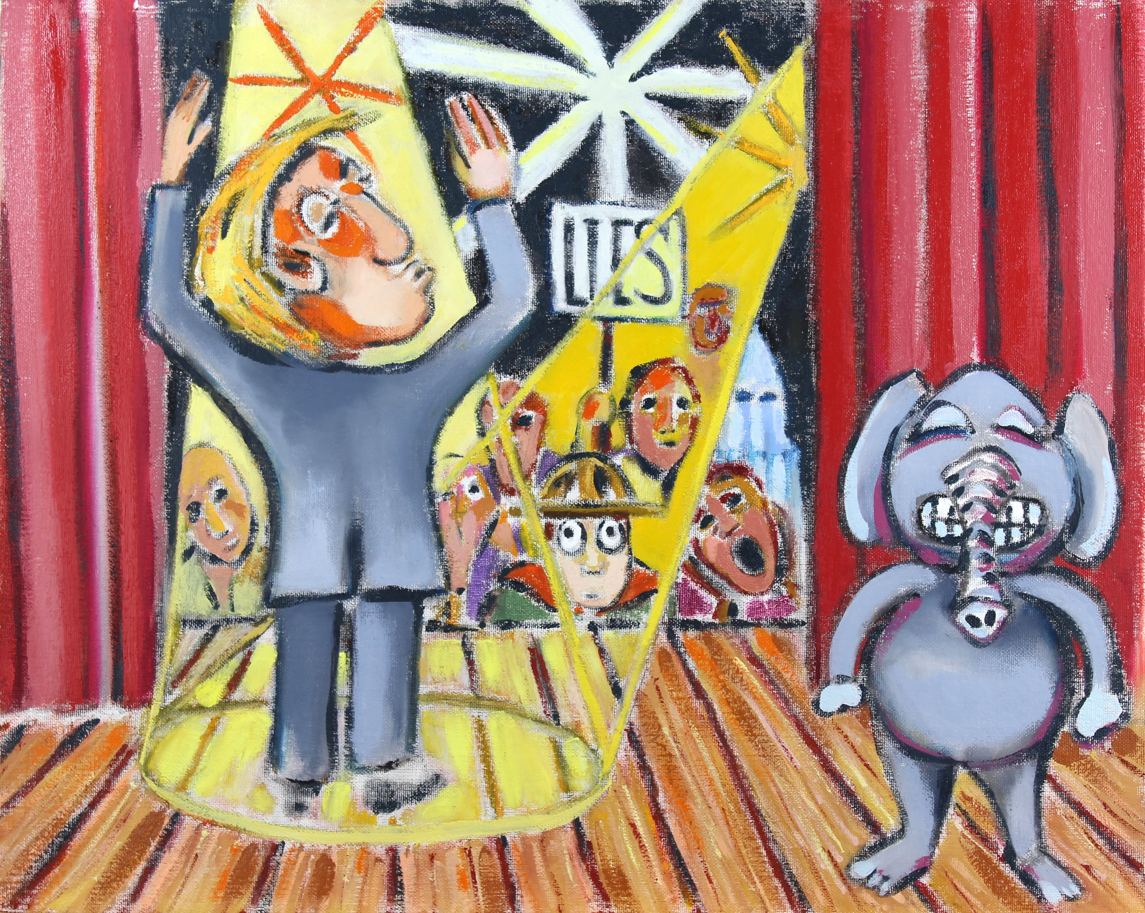 Jeff Turner: 'trump rally', 2018 Oil Painting, Figurative. Artist Description: Back Stage Scene at a Donald Trump Rally...