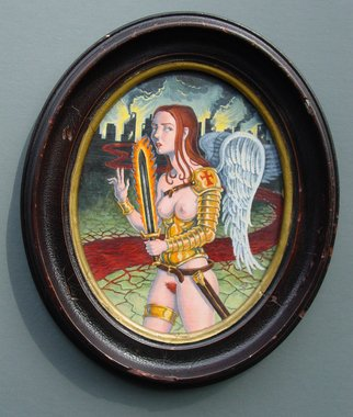 Jeffrey Dickinson: 'Crusader', 2008 Oil Painting, Surrealism.   Surreal nude oil painting on panel in vintage oval frame.    ...