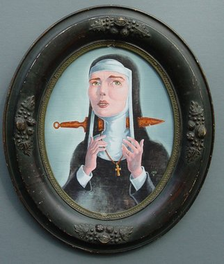 Jeffrey Dickinson: 'Ghost Nun of Prague', 2009 Oil Painting, Surrealism.  Oil painting on panel in vintage oval frame.  Based on famous ghost story.       ...