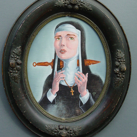 Jeffrey Dickinson Artwork Ghost Nun of Prague, 2009 Oil Painting, Surrealism