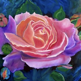 Jenny Jonah: 'gala rose', 2020 Oil Painting, Floral. Artist Description: Original oil painting on stretched canvas.  Colors swirl across this canvas of a large gala pink rose. ...