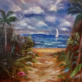 Jenny Jonah: 'path to the beach', 2020 Oil Painting, Beach. Artist Description: ORIGINAL OIL PAINTING ON STRETCHED CANVAS.  SANDY BEACH LEADING TO THETROPICAL OCEAN PUNCTUATED BY PALM TREES AND BEAUTIFUL GARDEN FAUNA ON EACH SIDE OF THE PATH.  SAIL BOAT IN THE DISTANCE.  BEAUTIFUL SUNNY SKIES, A PERFECT DAY FOR SWIMMING.  UNFRAMED...
