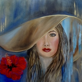 Jenny Jonah: 'queen bee', 2020 Oil Painting, Beauty. Artist Description: Original oil painting on stretched canvas unframed.  Beauty with a big floppy hat.  ...