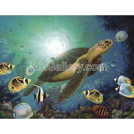 Jeremy Koehn Artwork Enchanted Sea Turtle, 2015 Acrylic Painting, Sea Life