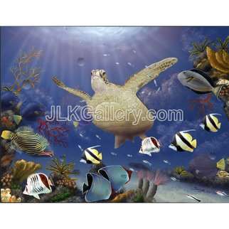 Jeremy Koehn Artwork Red Sea Gathering, 2015 Acrylic Painting, Sea Life