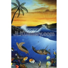 Jeremy Koehn Artwork Turtle Paradise, 2015 Acrylic Painting, Sea Life