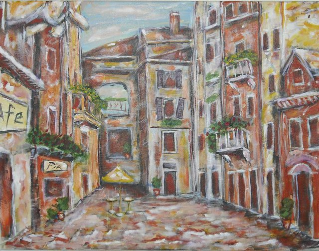 Jerry Farber  'A Square In Florence', created in 2007, Original Painting Acrylic.