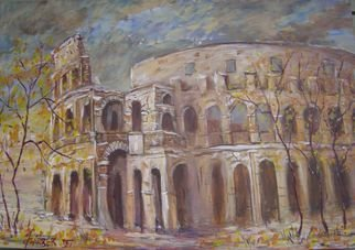 Jerry Farber: 'Fall of Rome 1 The Coliseum', 2006 Acrylic Painting, Representational.  First in a series depicting the famous buildings of Rome in an autumn setting somewhere between their highest prominance and their eventual fall into history. ...