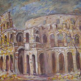 Jerry Farber Artwork Fall of Rome 1 The Coliseum, 2006 Acrylic Painting, Representational