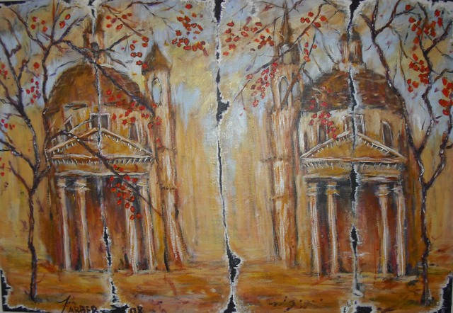 Jerry Farber  'Fall Of Rome 2 The Twin Churches', created in 2009, Original Painting Acrylic.