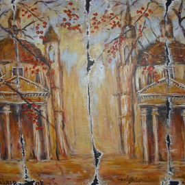 Jerry Farber Artwork Fall of Rome 2 The Twin Churches, 2009 Acrylic Painting, Landscape